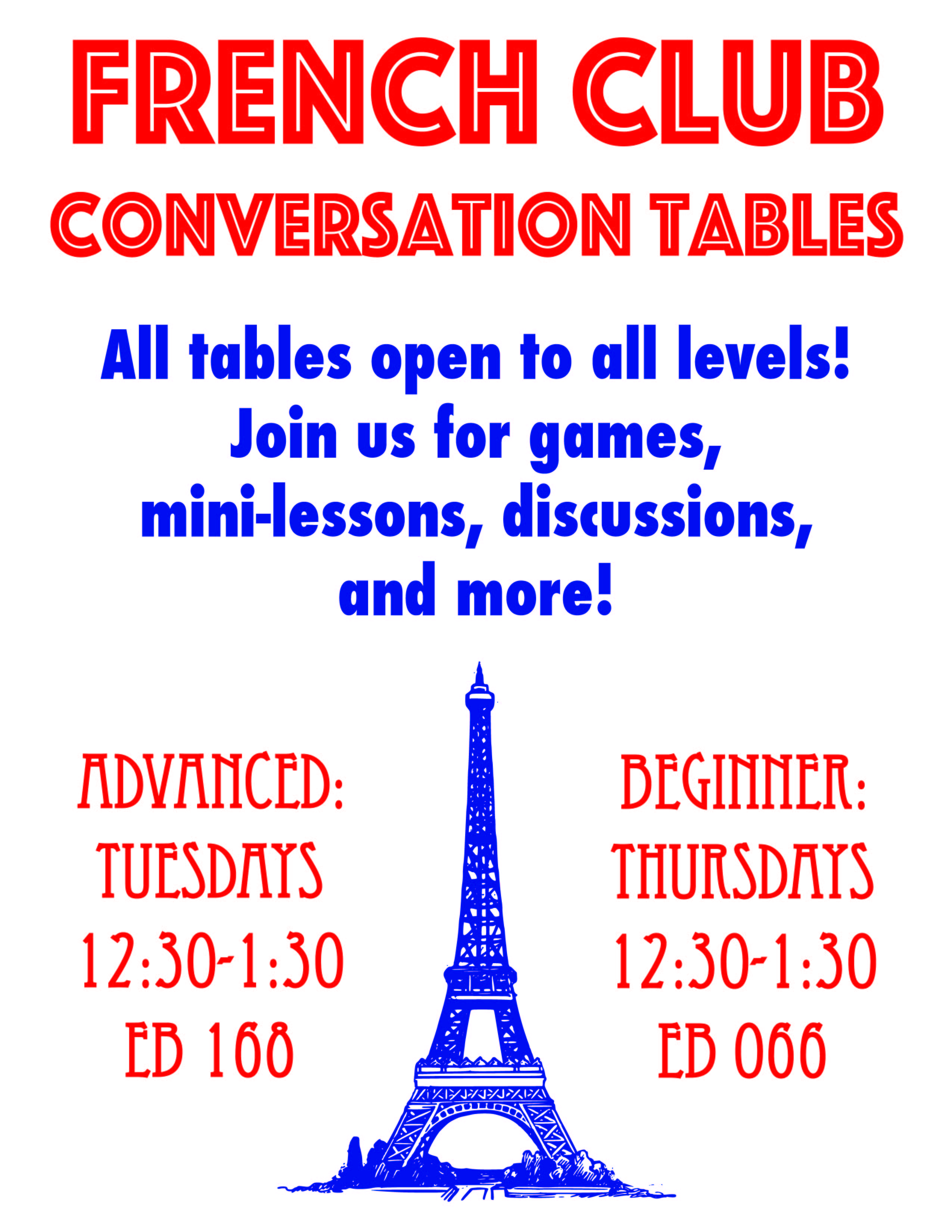 Flyer For Our Spring 2018 Conversation Tables. All Information Provided In  The Article Itself.