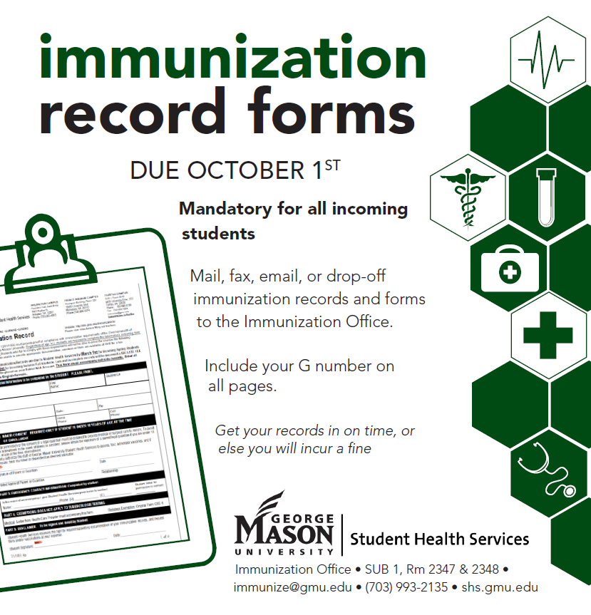 Immunization Records Due October 1st - Get Connected at Mason