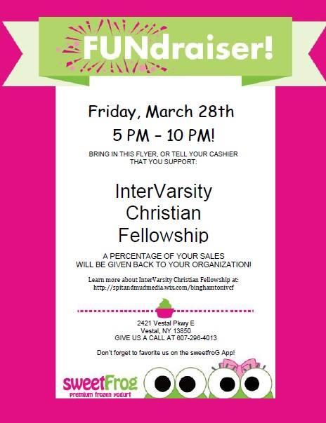 Sweet Frog Fundraiser for InterVarsity Christian Fellowship